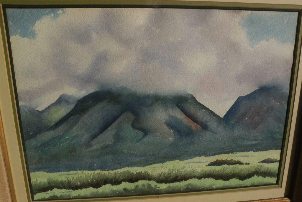 STANFORD STEVENS (1897-1974) California art fine watercolor painting of lush green hills