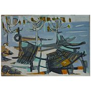 AHMED ZAGHLOUL 1959 abstract painting by noted Egyptian artist who studied in Paris