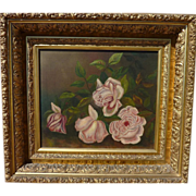 Nicely framed old still life of roses painting