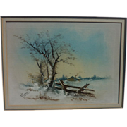 Pastel drawing of snowy winter landscape circa 1900