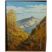 Colorado art impressionist painting of Longs Peak in the fall by artist RUTH ERWIN