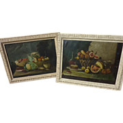 PAIR circa 1890 French oil still life paintings