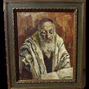 JEHUDA RODAN (1916-1985) Jewish art painting of old holy man by listed Romanian artist