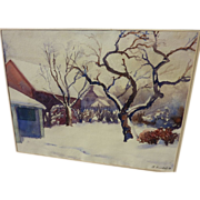 Watercolor American winter landscape in the snow signed S. Randolph‏