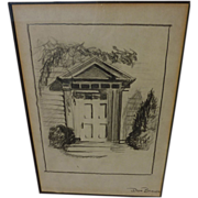 Fine pencil drawing of traditional New England doorway signed Don Brown‏