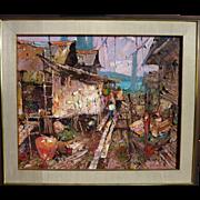 "SUJARIT HIRANKUL (1936-1982) large impressionist painting ""Fishing Village"" by major Thai 20th century artist"
