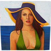Contemporary American painting of a young woman with sun bonnet