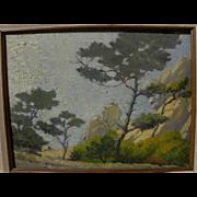 California plein air impressionist luminous painting trees at the coast
