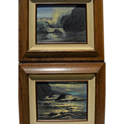 VIOLET PARKHURST (1921-2008) **PAIR** impressionist seascape paintings by popular California artist