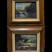 VIOLET PARKHURST (1921-2008) **PAIR** impressionist seascape paintings by popular California artist