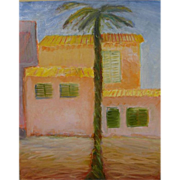 Tropical look contemporary sunny oil painting of palm tree and pastel houses