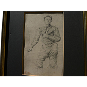 MARINUS ADRIANUS KOEKKOEK (1807-1870) pencil study of a man by noted Dutch landscape artist