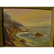California plein air painting of dramatic coastline by artist Sue Hunter