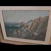 CARL SAMMONS (1883-1968) plein air California art pastel painting of coastal landscape