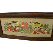 Vintage needlework embroidery birds with fruit circa early 20th century