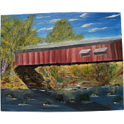PAIR impressionist paintings New Mexico church and eastern covered bridge