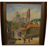 Taxco Mexico oil painting of Santa Prisca church view by artist MAYA