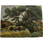 California vintage watercolor landscape painting circa 1940's, likely by listed artist