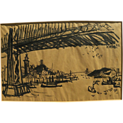 DONG KINGMAN (1911-2000) ink drawing of San Francisco bridges by important California watercol