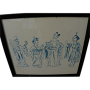 Asian painting watercolor scene with four figures in traditional costume