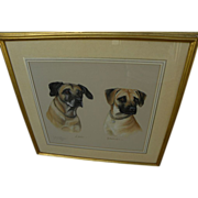 Signed English pastel portraits of beloved dogs dated 1988
