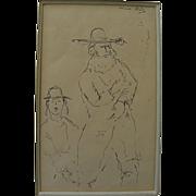MANE-KATZ (1894-1962) ink drawing of Hasidic man and boy by the major Jewish artist