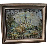 New Orleans art mixed media painting of Saint Louis Cathedral by noted Kansas City artist MODESTA RICHERSON (1905-1997)