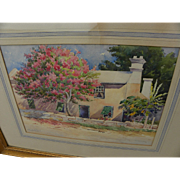 Bermuda art vintage old watercolor painting of house amidst flowering trees signed Charles G. Long
