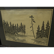 Signed ink drawing of Indian ti-pi on shore of a northern lake signed Leb-Wendell