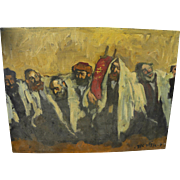 ADOLF ADLER  (1917-1996) Jewish art painting of Simchat Torah celebration by noted Romanian Je