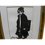 MOSHE BERNSTEIN (1920-2006) ink drawing of Jewish boy by listed Israeli artist