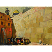ADOLF ADLER (1917-1996) Jewish art painting of the Wailing Wall in Jerusalem by noted Romanian