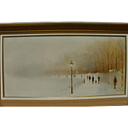 "ANTHONY ""TONY"" KLITZ (1917-2000) impressionist painting figures in a foggy landscape by noted English-Irish artist"