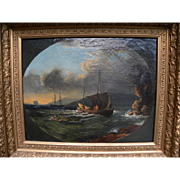 Fine English 19th century oil painting of coastal scene with boats and figures