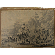 After NICOLAES BERCHEM (1620-1683) antique Dutch Old Master classical ink drawing of figures and animals in a landscape
