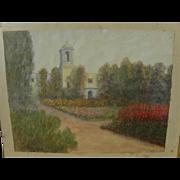 JOHN LOUIS BERTRANT COMPARET (1848-1929) watercolor of California mission or church dated 1916