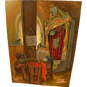 SAUL RASKIN (1878-1966) original oil painting of a synagogue by the important Jewish artist an