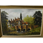 MALCOLM GEARING (1947-) English art detailed painting of a half-timbered country home by a small river bridge