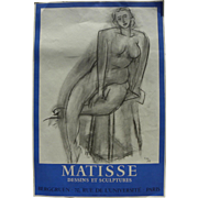 HENRI MATISSE (1869-1954) original lithograph poster for 1956 exhibition at Galerie Berggruen