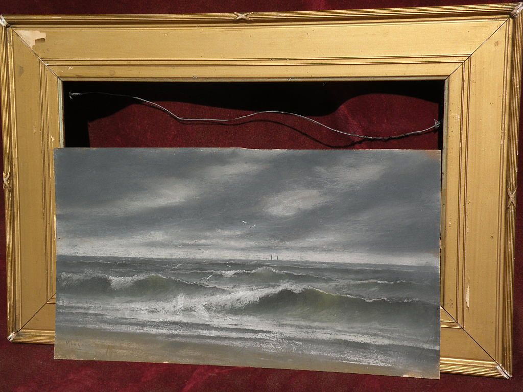 Signed vintage early seascape pastel painting possibly Northwest coast