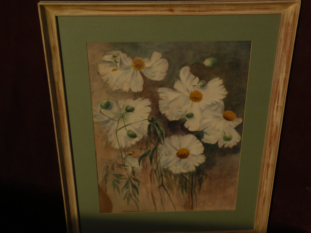 EUNICE YOUNG (1854-1928) listed San Diego California art watercolor still life painting