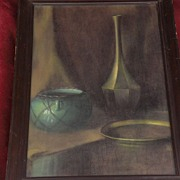 Pastel and charcoal fine still life drawing signed by possibly Hungarian artist VInnie Gjere