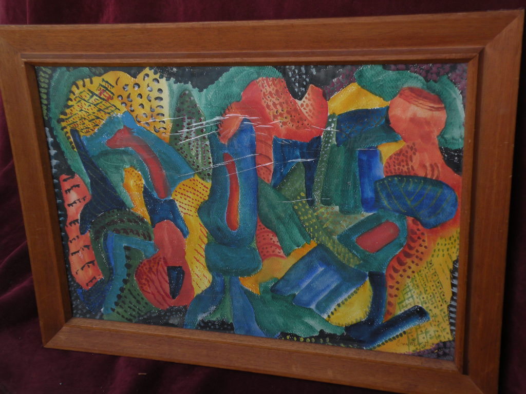 Modernist abstract watercolor painting signed by listed artist EVA BERNSTEIN (1865-1956)