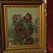 """Roses still life floral oil painting circa 1900 signed Myrtle Crittenden very """"shabby"""""""
