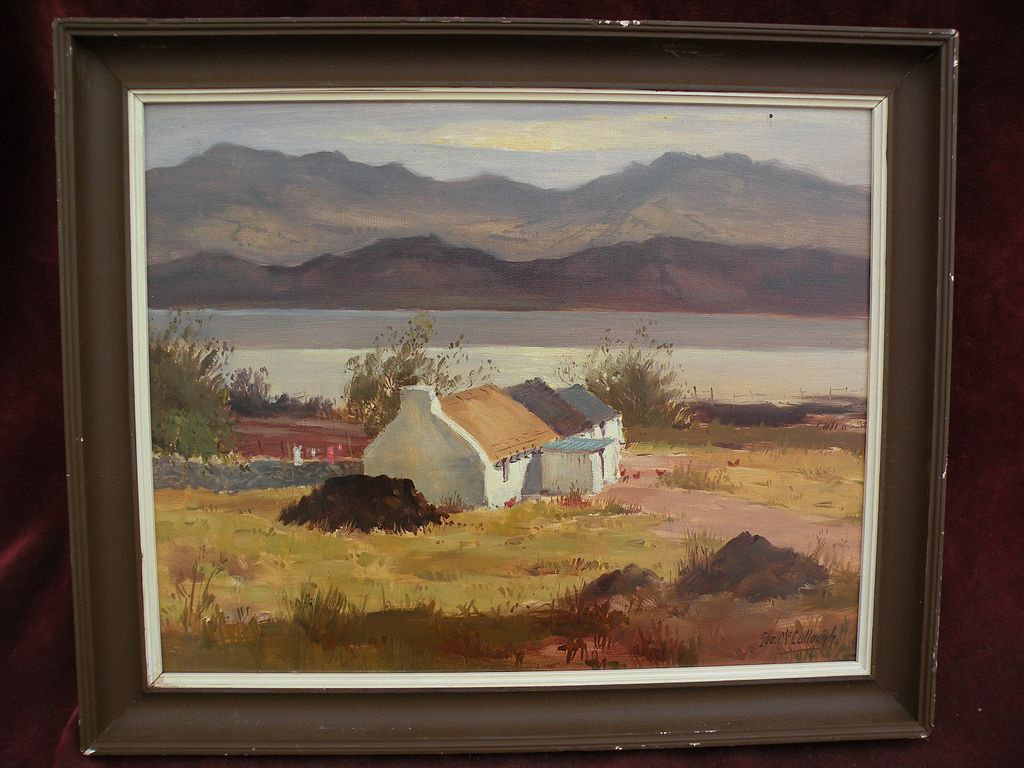 GEORGE McCULLOUGH (1922-) Irish art landscape painting with cottage by listed Irish artist