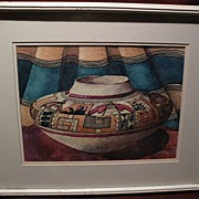 Southwestern art signed colorful original watercolor painting of decorated pottery