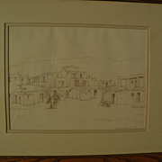 GREGORY JENKINSON ( -2006) listed Arizona artist Taos New Mexico drawing