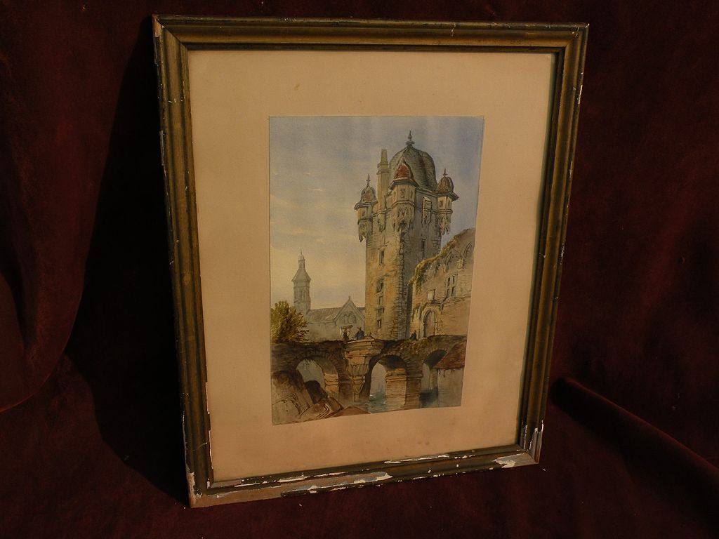 Circa 1840 European watercolor painting of bridge, ruins and tower in Old World city probably French