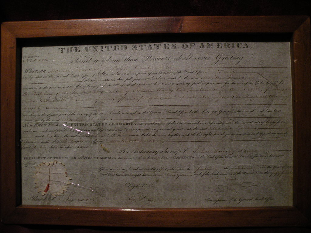 JOHN QUINCY ADAMS presidential memorabilia scarce authentic autograph on 1827 land grant