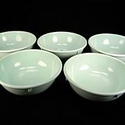 Five Vintage Green Dallas Ware Cereal Bowls